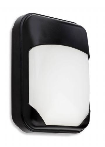 Pinto LED Wall Light, Black Polycarbonate with Opal Diffuser, 4913BK